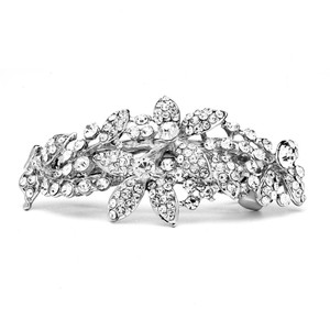 Mariell Silver Shimmering Crystal Abstract Style Or Prom Hair Barrette 4224hb Earrings