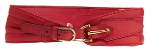 Gucci Gucci Vintage Women's Red Leather Wide Belt, Size 28 (20501)