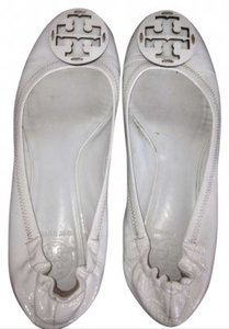 Tory Burch White Patent Leather Flats