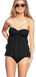 Kenneth Cole KENNETH COLE BLACK BANDEAU TIERED RUFFLE TANKINI SWIMSUIT SET S