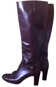 Salvatore Ferragamo Leather Chunky Heel Brown Boots