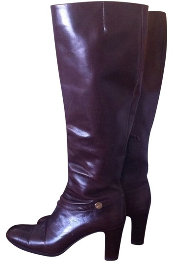 Salvatore Ferragamo Leather Chunky Heel Knee High Brown Boots