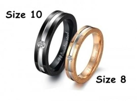 Silver/Black/Rose Gold Bogo Free 2pc Matching Couples Band Rings Free Shipping Jewelry Set