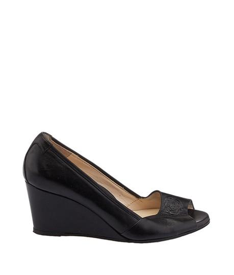 Taryn Rose Leather Peep-toe Black Wedges