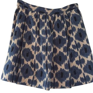 MICHAEL Michael Kors Ikat Linen High Waist Pockets Mini Skirt Blue, black, natural