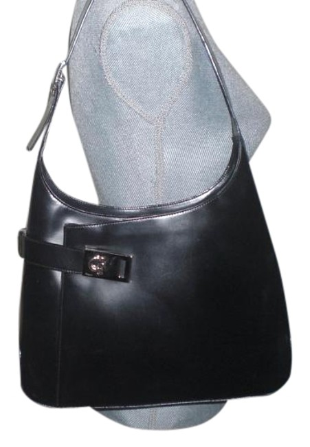 Salvatore Ferragamo Gancini Shoulder Handbag Black Italian Leather Hobo Bag Salvatore Ferragamo Gancini Shoulder Handbag Black Italian Leather Hobo Bag Image 1