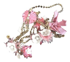 Louis Vuitton Louis Vuitton Gold Tone Pink and White Floral Necklace