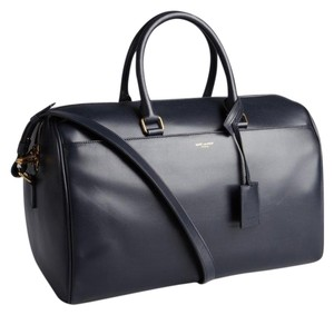 Saint Laurent Duffle Yves Ysl Satchel in Navy Blue