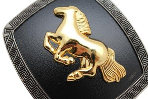 Other New Belt Buckle Men Women Black Square Metal Western Theme 3D Rodeo Style Gold Horse