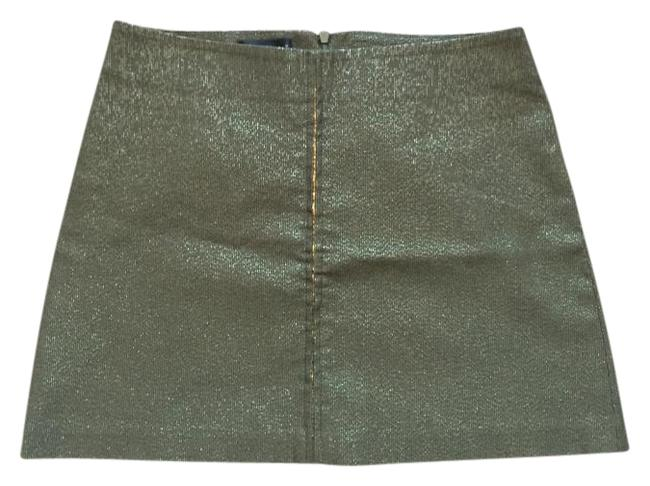 bebe Sequin Mini Army Green Mini Skirt olive and gold Image 1