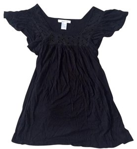 Charlotte Russe Pockets Baby Doll Short Sleeve Top Black