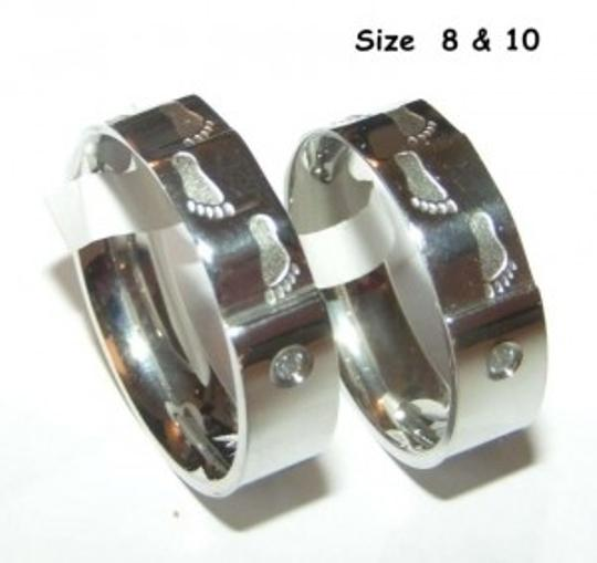 Silver Reduced 2pc Matching Titanium Steel Ring Free Shipping Jewelry Set