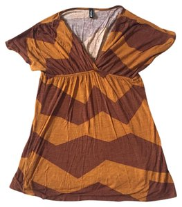 Swell Baby Doll V Neck Zigzag Top Red orange