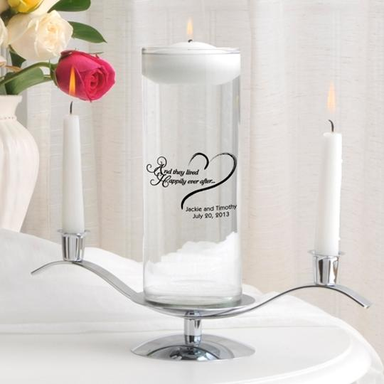 White Personalized Romance Floating Set - Various Designs Unity Candle