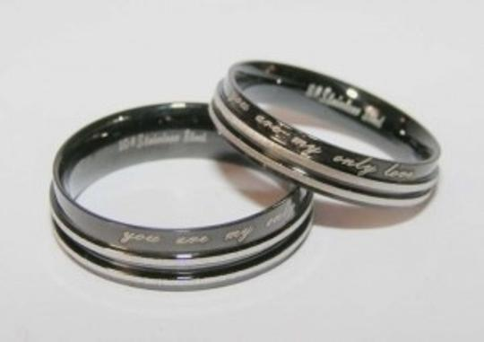 Silver/Black Bogo Free Matching Couples Rings Free Shipping Jewelry Set