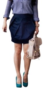 J.Crew Lantern/tulip Drape Pleats Lined Ribbon Waist Sateen Mini Skirt Deep Navy