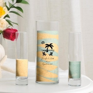 Clear Personalized Sand Vase Set - Various Designs Unity Candle