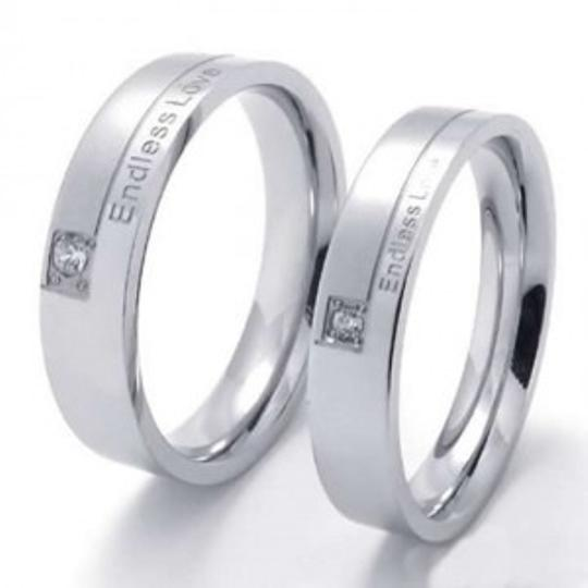 "Bogo Free 2pc Matching ""endless Love"" Silver Band Rings Free Shipping"