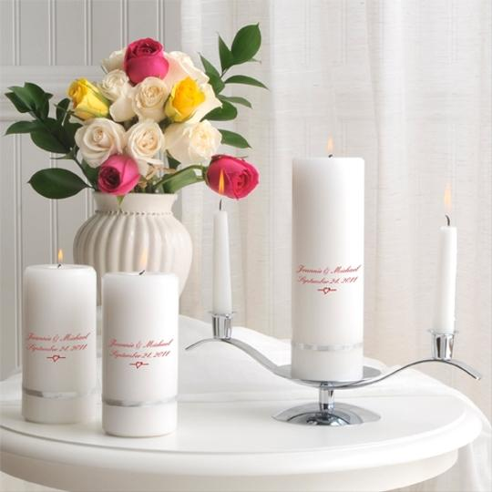 White Or Ivory Personalized Hand Painted Heirloom-quality Deluxe Set - Various Designs Unity Candle