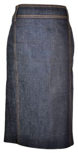 Saint Laurent Dark Wash Pencil Skirt Blue Denim