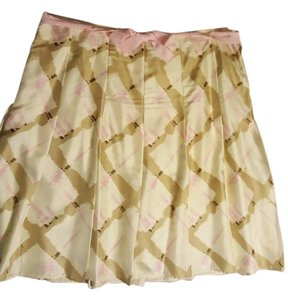 Gap Silk Flowy Skirt Cream Tan Pink