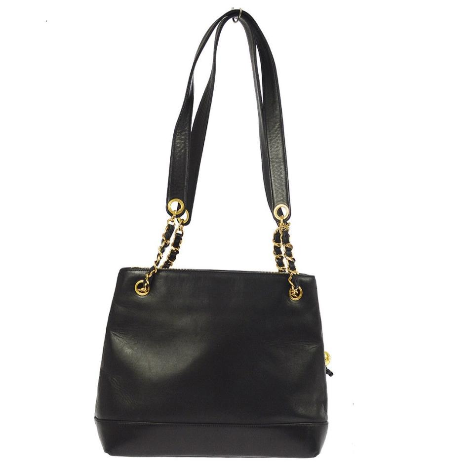 9017cca330c7 Chanel Skin Chain Tote Black Lambskin Leather Shoulder Bag - Tradesy