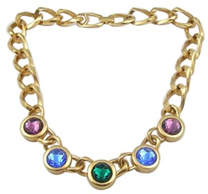 Swarovski Colorful Crystals Gold Chain Vintage Necklace