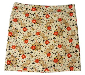 Ann Taylor LOFT Mini Skirt Beige, Red, Tan, Yellow and Black