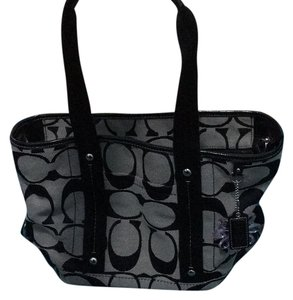 Coach Tote in Grey And Black