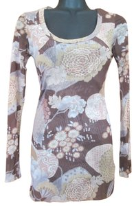 Sweet Pea by Stacy Frati Mesh Floral Summer Stretch Top Brown & Beige