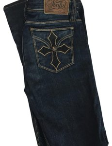Sinful Embellished Bell Jewel Flare Pants Blue