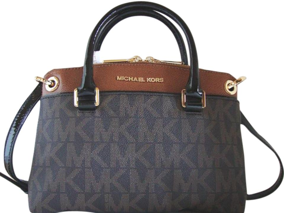 1a51be8b6d7d Michael Kors Coated Canvas Saffiano Leather Brown/Luggage Small Crossbosy  Satchel in Brown/Luggage ...