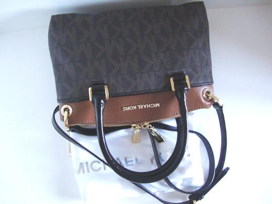 Michael Kors Coated Canvas Saffiano Leather Brown/Luggage Small Crossbosy Satchel in Brown/Luggage Image 10
