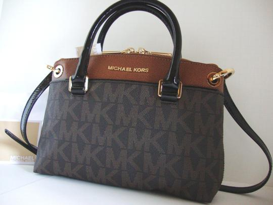 Michael Kors Coated Canvas Saffiano Leather Brown/Luggage Small Crossbosy Satchel in Brown/Luggage Image 11