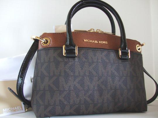 Michael Kors Coated Canvas Saffiano Leather Brown/Luggage Small Crossbosy Satchel in Brown/Luggage Image 2
