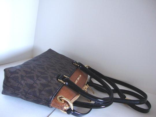 Michael Kors Coated Canvas Saffiano Leather Brown/Luggage Small Crossbosy Satchel in Brown/Luggage Image 4