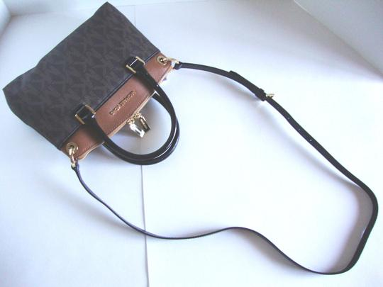 Michael Kors Coated Canvas Saffiano Leather Brown/Luggage Small Crossbosy Satchel in Brown/Luggage Image 5