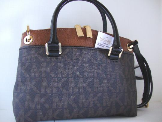 Michael Kors Coated Canvas Saffiano Leather Brown/Luggage Small Crossbosy Satchel in Brown/Luggage Image 6