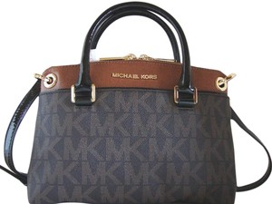 Michael Kors Coated Canvas Saffiano Leather Small Crossbosy Satchel in Brown/Luggage