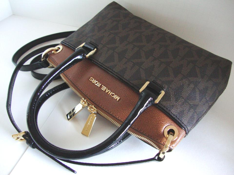 6f88c19357500e ... Michael Kors Coated Canvas Saffiano Leather Small Crossbosy Satchel in  BrownLuggage .