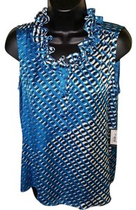 Nine West Geo Sleeveless Satin Ruffle Cami Top Blue