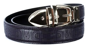 Gucci Gucci Belt Horsebit Embossed Purple Leather Authentic Size 32