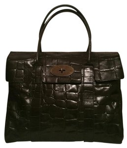 Mulberry Leather Classic Icon Brass Formal Satchel in Black