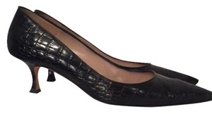 Manolo Blahnik Black Alligator w/Kitten Heel Pumps