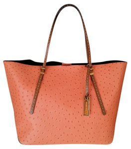 Michael Kors Gia Persimmon Ostrich Tote in Peach