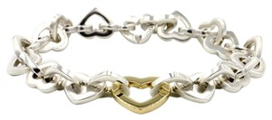 Tiffany & Co. Tiffany & Co. Heart Link Bracelet in 925 Sterling Silver and 18k Yellow Gold, Length 7.75