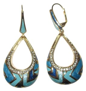 Lauren G Adams Large Blue Enamel Dangle Gold-Plated Teardrop Earrings Signed --New