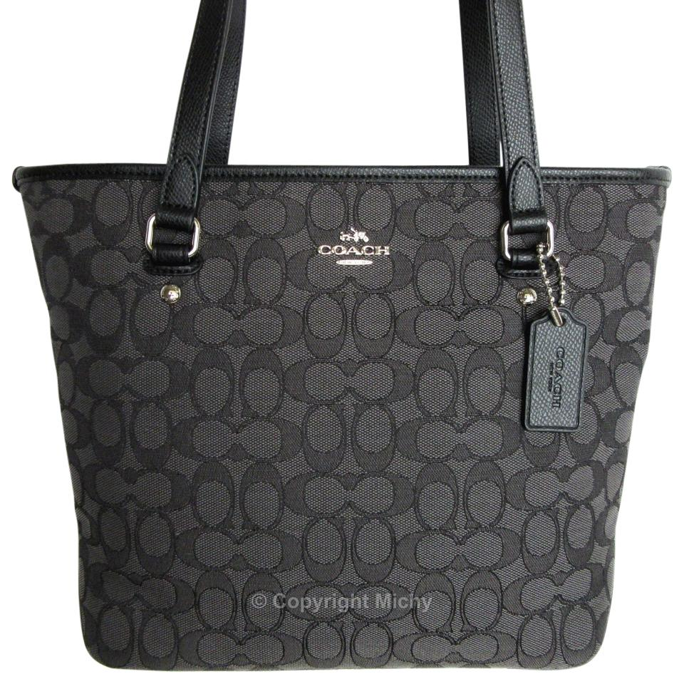 7d6bf0e38ac4 Coach Outline Zip Top F55364 Black Smoke   Black Signature Jacquard Canvas    Leather Tote