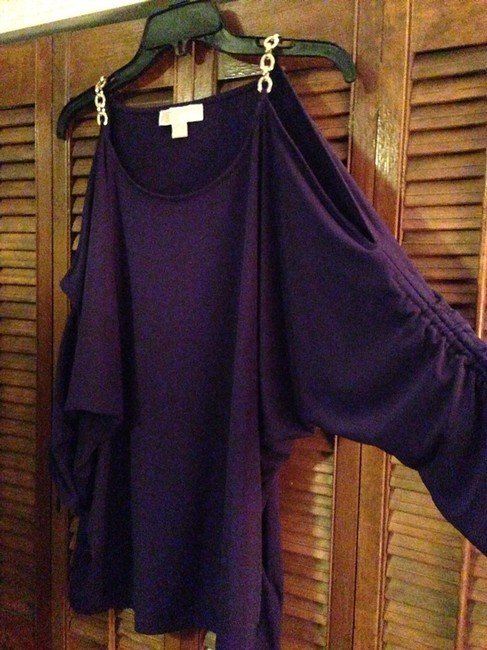 Item - Purple Cold Shoulder Tunic Size 16 (XL, Plus 0x)