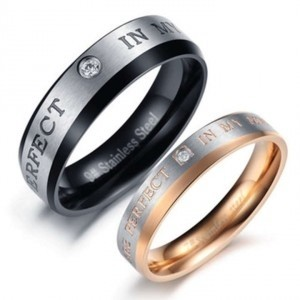 Silver/Black/Rose Gold Bogo Free 2pc Matching Couples Band Free Shipping Jewelry Set